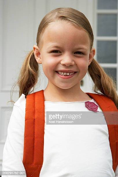 girl (5-7 years) with hair in bunches, smiling, portrait, close-up - 6 7 years stock pictures, royalty-free photos & images
