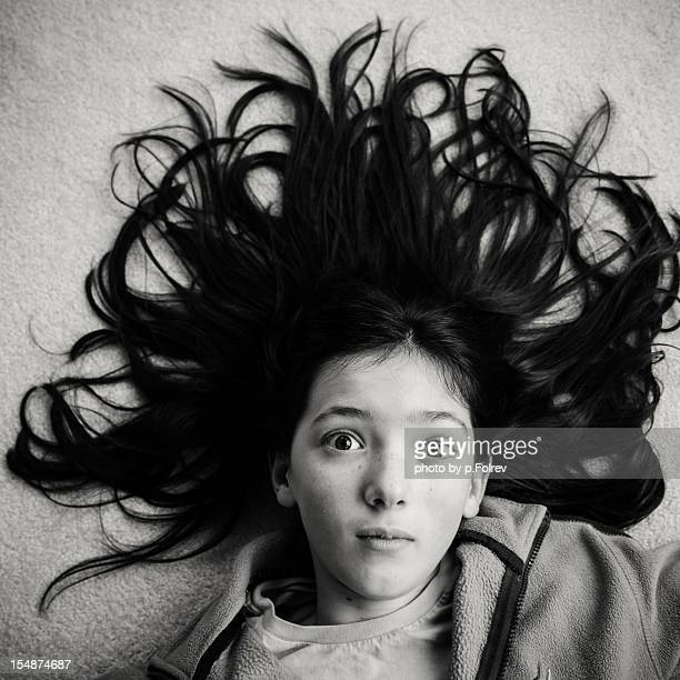 Girl with hair spread out