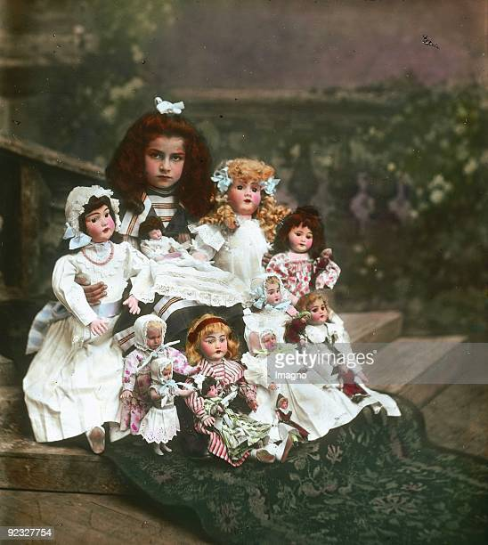 Girl with her dolls Austria Handcolored lantern slide Around 1910