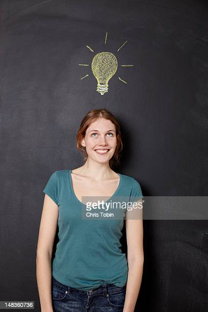 Girl with idea light bulb