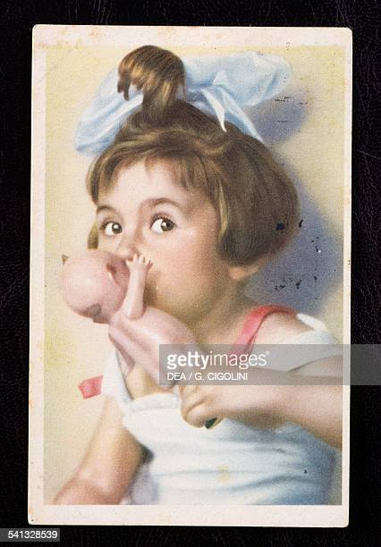 Girl with Kewpie doll postcard 1930s Italy 20th century