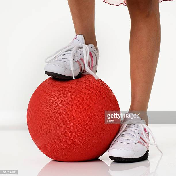 girl with kickball - kickball stock photos and pictures