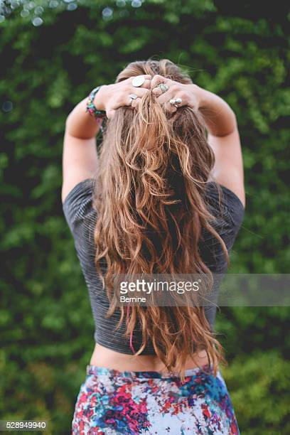 Girl with Long Hair with Back to Camera