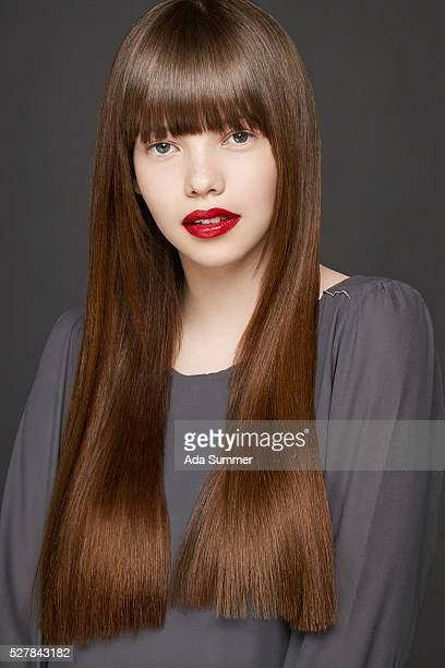 girl with long shiny straight hair