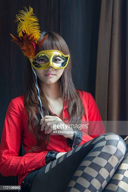 girl with mask - malaysia beautiful girl stock photos and pictures