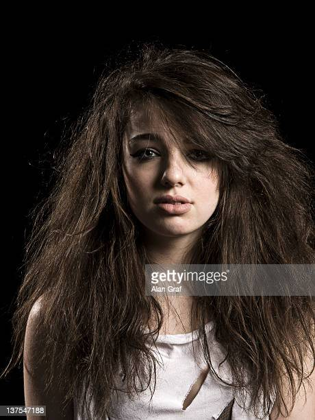 Girl with messy hair