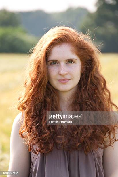 Natural Red Hair Girl Half Face