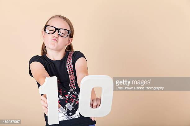 Girl with number 10 and geek glasses