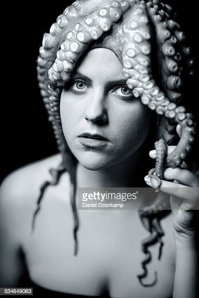 girl with octopus / medusa on her head - tentacle stock pictures, royalty-free photos & images