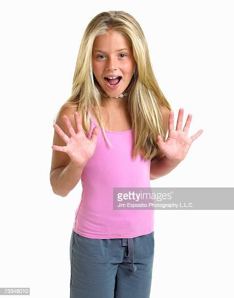 girl (12-13) with open mouth, portrait - girls open mouth stock-fotos und bilder