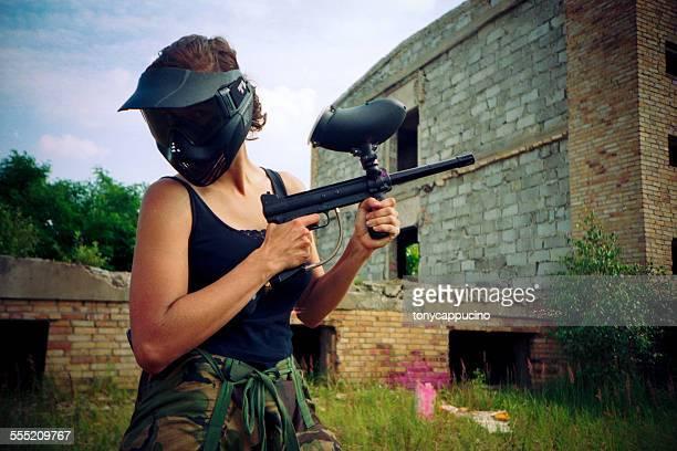 Girl with paintball gun