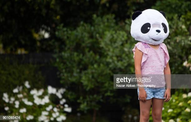 Girl with Panda Head.