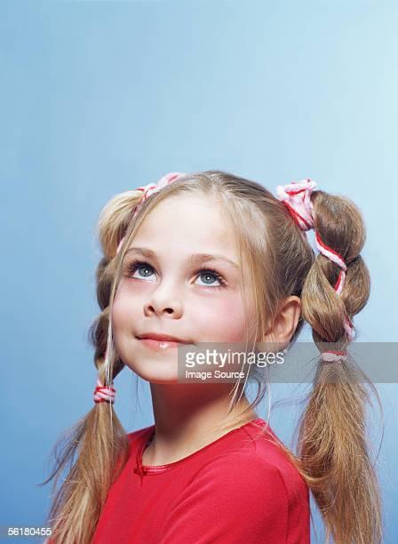 chica con extremos libres (pigtails) - young thick girls fotografías e imágenes de stock