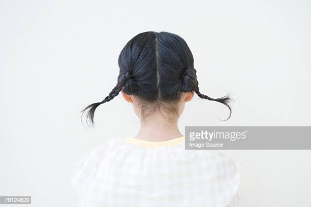 Girl を二つに結んだ髪