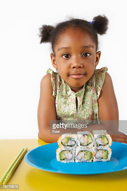 Girl with Plate of Sushi