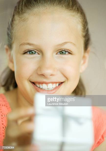 girl with present - giving a girl head stock photos and pictures