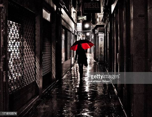 content girl with red umbrella black and white with red