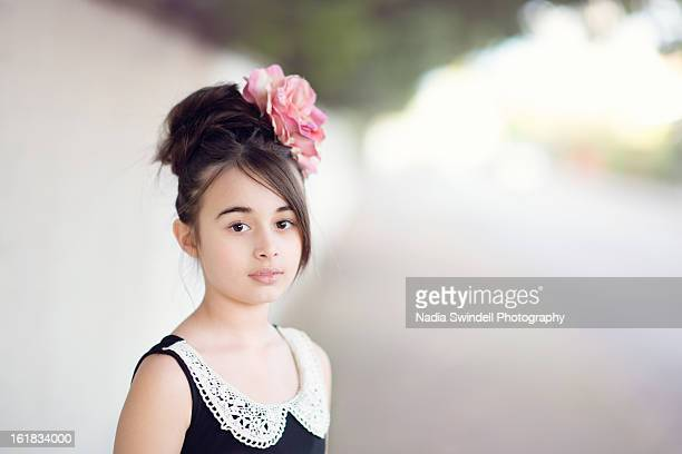 girl with rose - weybridge stock photos and pictures