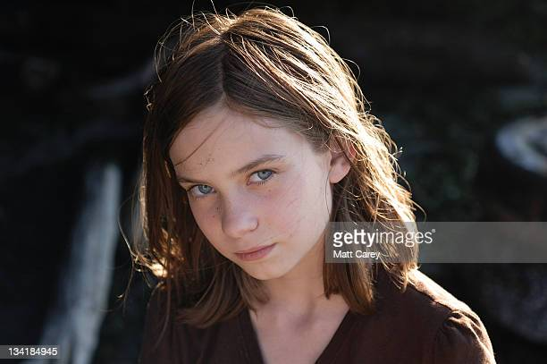 girl with sand grains on her face - sad child stock pictures, royalty-free photos & images