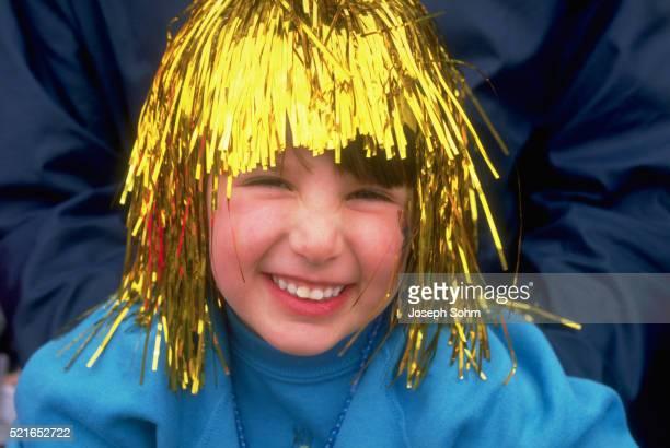 girl with shiny wig at mardi gras - gras bildbanksfoton och bilder