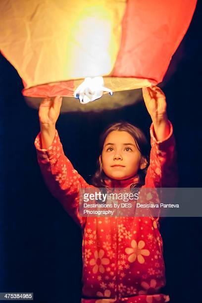 Girl with sky lantern