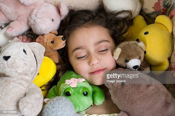girl with soft toys - large group of objects stock pictures, royalty-free photos & images