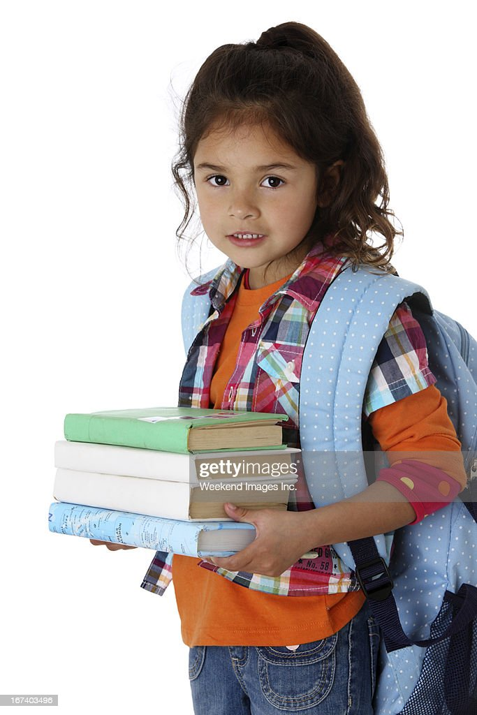 Girl with stack of textbooks : Stock Photo
