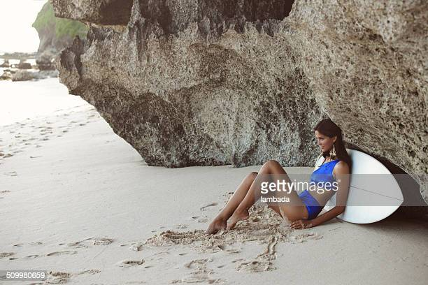 girl with surf board - asian swimsuit models stock photos and pictures