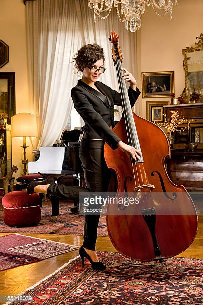 Girl With The Bass.Color Image