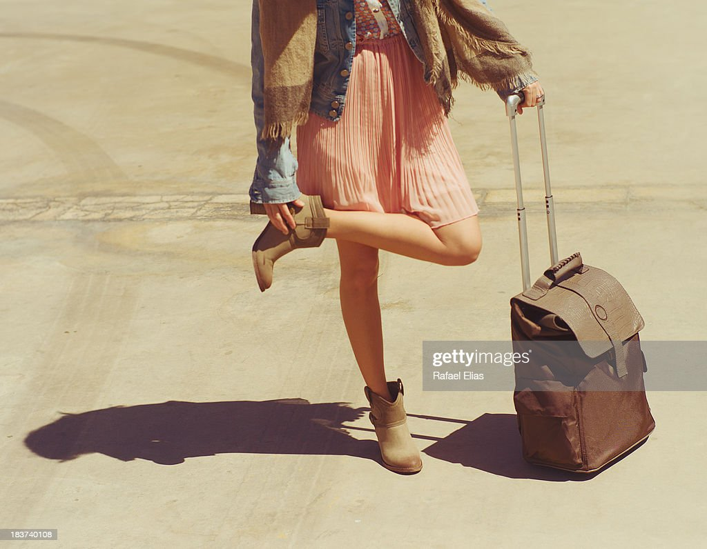 Girl with trolley : Stock Photo