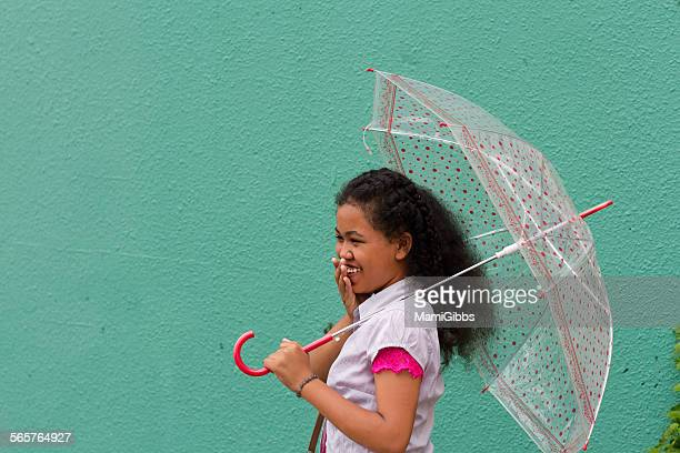 girl with umbrella - mamigibbs stock photos and pictures