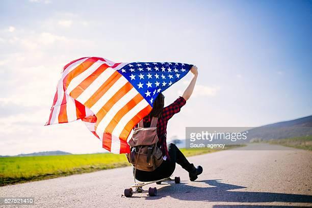 Girl with USA flag