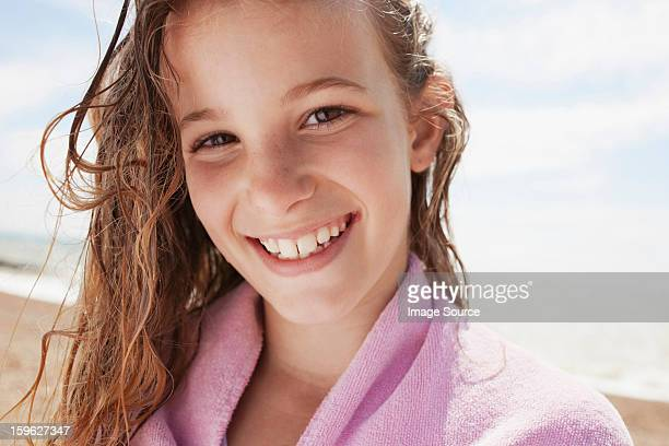 girl with wet hair, wrapped in towel - saltdean stock pictures, royalty-free photos & images