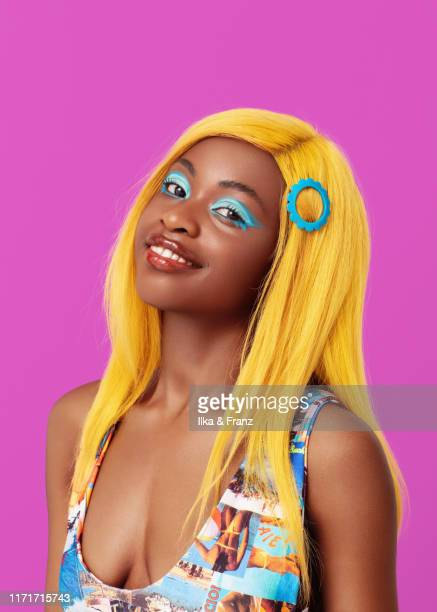 girl with yellow hair - yellow stock pictures, royalty-free photos & images