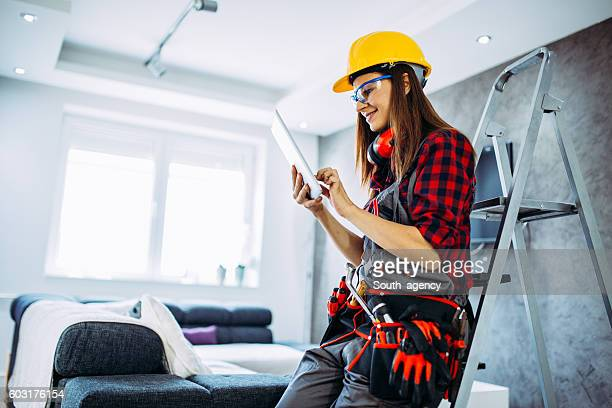 Girl worker with tablet