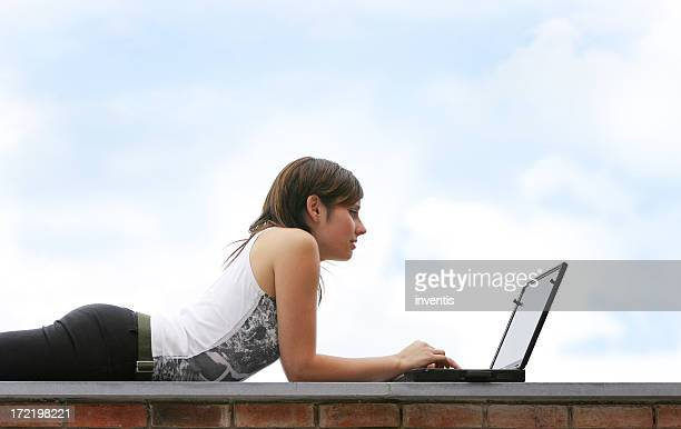girl working outside