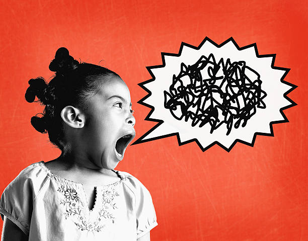 Girl (6-8) yelling (Digital Composite)