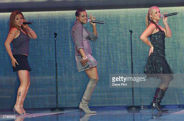 Girlband The Sugababes perform at the Clotheshow Live 2003 the world's largest consumer fashion and beauty show at the NEC on December 9 2003 in...