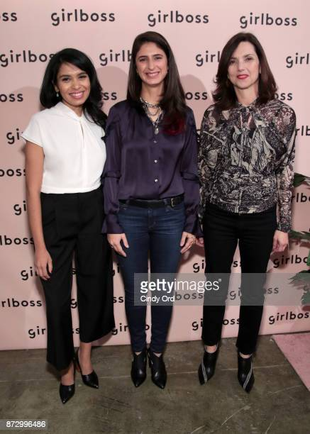 Girlboss EditorinChief COO Neha Gandhi EpiBone CEO Founder Nina Tandon and GE ViceChair Beth Comstock attend Girlboss Rally Hosted By Sophia...