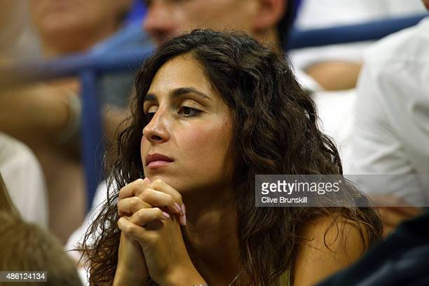 Girlfriend Maria Francisca Perello watches Rafael Nadal of Spain play against Borna Coric of Croatia during their Men's Singles First Round match on...