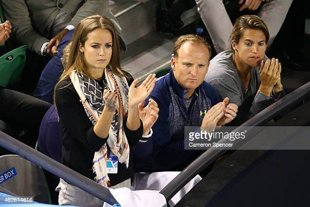 Girlfriend of Andy Murray Kim Sears and Coach of Andy Murray Amelie Mauresmo watch him in his men's final match against Novak Djokovic of Serbia...
