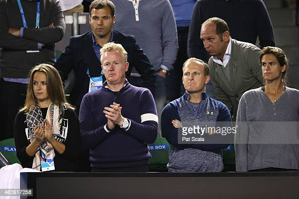 Girlfriend of Andy Murray Kim Sears and Coach of Andy Murray Amelie Mauresmo look on after he lost in his men's final match against Novak Djokovic of...