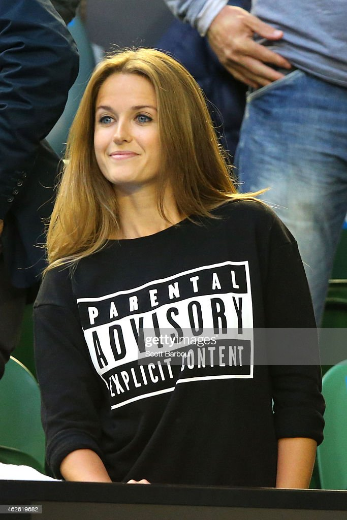 Girlfriend of Andy Murray, Kim Sears looks on ahead of his men's final match against Novak Djokovic of Serbia during day 14 of the 2015 Australian Open at Melbourne Park on February 1, 2015 in Melbourne, Australia.