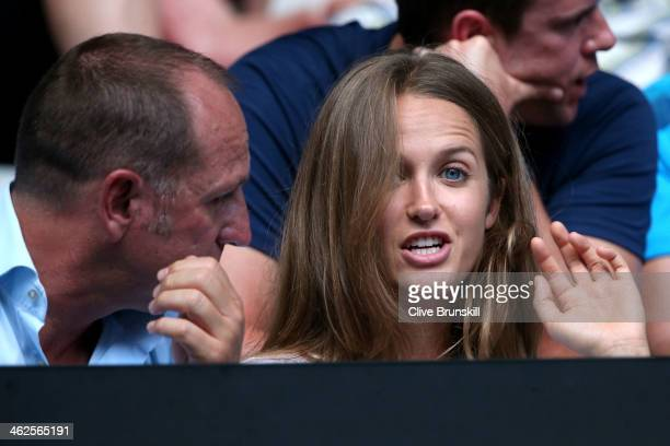 Girlfriend of Andy Murray Kim Sears watches him in his first round match against Go Soeda of Japan during day two of the 2014 Australian Open at...