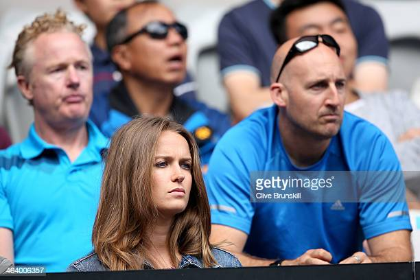 Girlfriend of Andy Murray Kim Sears watches him in his fourth round match against Stephane Robert of France during day eight of the 2014 Australian...