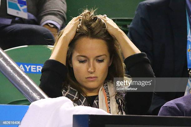 Girlfriend of Andy Murray, Kim Sears watches in his men's final match against Novak Djokovic of Serbia during day 14 of the 2015 Australian Open at...