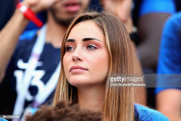 Girlfriend of Florian Thauvin of France Charlotte Pirroni looks on before the 2018 FIFA World Cup Russia group C match between Denmark and France at...
