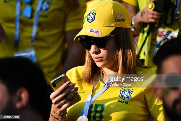Girlfriend of Fred during the FIFA World Cup Group E match between Serbia and Brazil on June 27 2018 in Moscow Russia