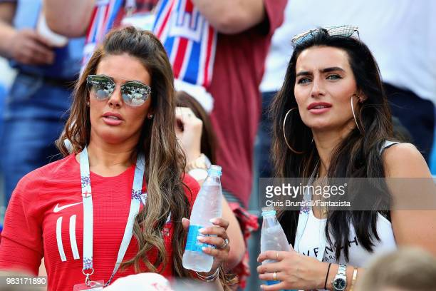 Girlfriend of Kyle Walker of England Annie Kilner and wife of Jamie Vardy of England Rebekah Vardy look on during the 2018 FIFA World Cup Russia...