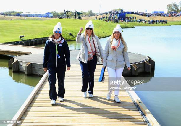 Girlfriend of Lee Westwood Helen Storey girlfriend of Thomas Bjorn Grace Barber and wife of Padraig Harrington Caroline Harrington during the...